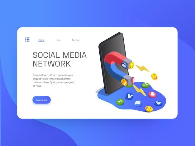 Pagina di destinazione del sito web di social media con immagini del magnete e dei collegamenti dello smartphone
