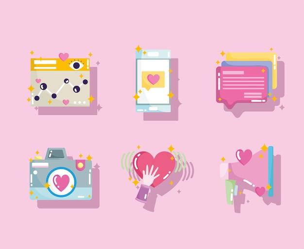 Social media website camera like phone speech bubble icons in cartoon style illustration