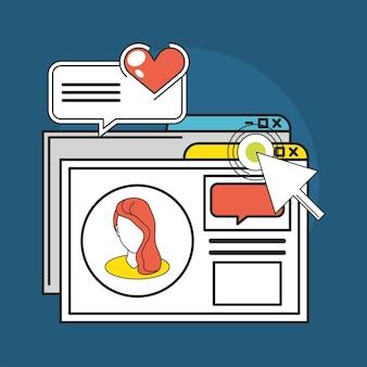 Social media website click mesasge