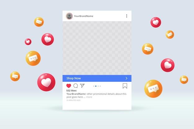 포토 프레임이있는 소셜 미디어