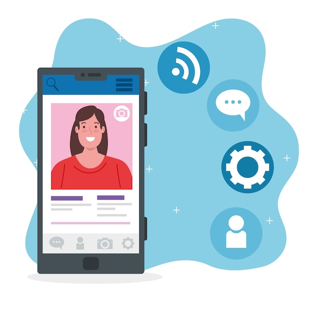 Социальные сети, женщина общается с помощью дизайна иллюстрации смартфона