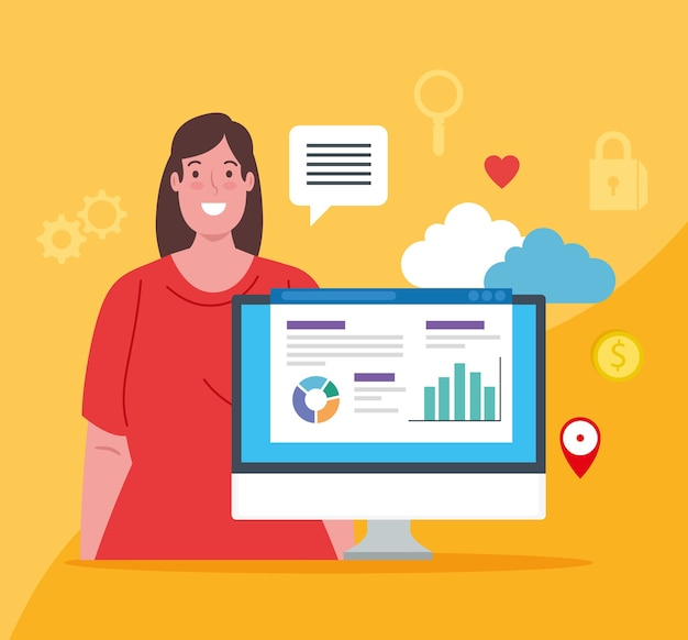 ソーシャルメディア、コンピューターとアイコンのイラストデザインを持つ女性