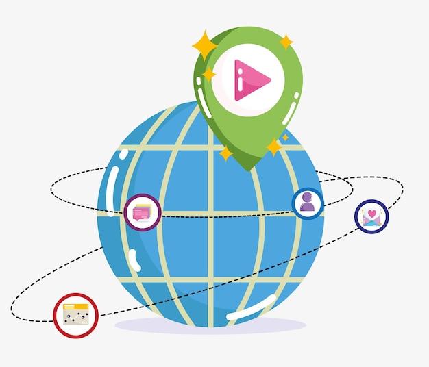 ソーシャルメディア世界接続バイラルコンテンツ技術イラスト