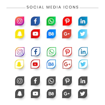 Social medial icon pack for resume, business card.