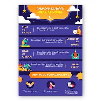 コロナウイルスcovid-19防止を備えたラマダンムバラクフェスティバルでウイルスが蔓延している間、家に留まるソーシャルメッセージテンプレート。