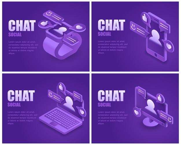 Social messenger application landing page set