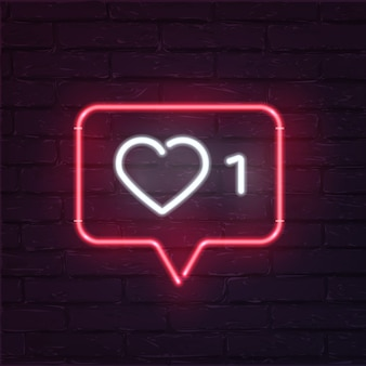 Social network activity indicators neon icon, notification with heart, number and speech cloud.