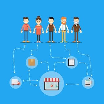 Социальная сеть и работа в команде иллюстрации