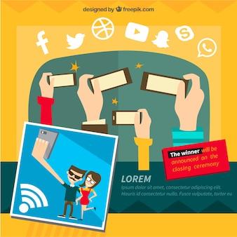 Sfondo sociale rete in design piatto