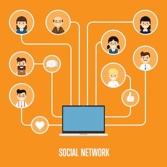 Social network banner with connected people