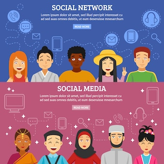 Social network banners set