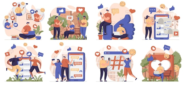 Social network collection of scenes isolated people browsing posts like chatting online at apps
