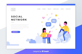 Social network colorful landing page