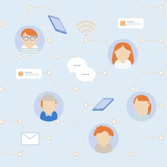 Social network communication icons