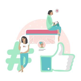 チャットやニュースフィードを読んでいる人々のソーシャルネットワークコミュニケーションのイラスト。