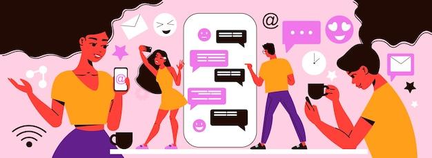 Composizione di social network con personaggi scarabocchiati di persone con smartphone gadget
