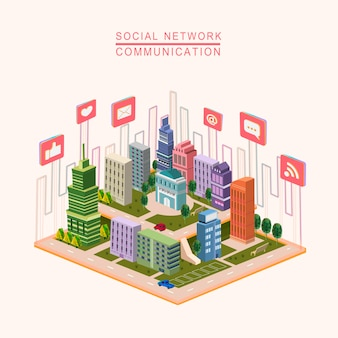 Social network concept 3d isometric infographic with city scene