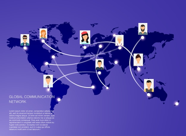 Social network  concept.   illustration for web sites infographic. communication systems and technologies.
