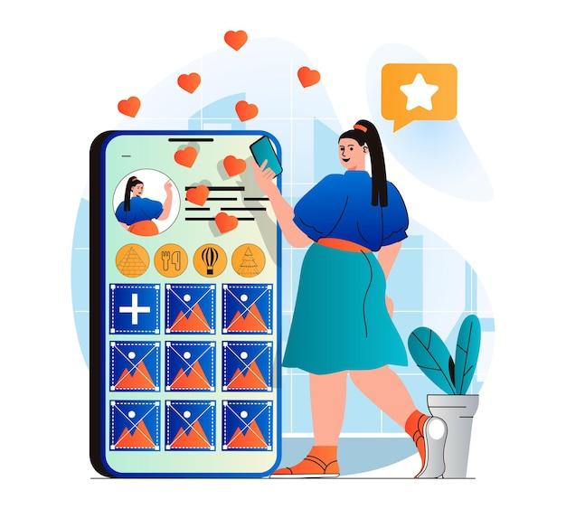 현대적인 평면 디자인의 소셜 네트워크 개념 여성은 소셜 미디어에 개인 블로그를 게시합니다.