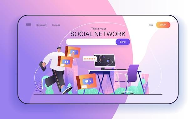 Social network concept for landing page social media user online communication blogging