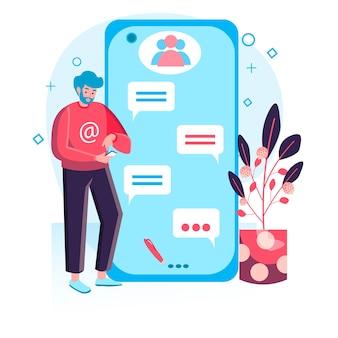 Концепция социальной сети. человек с помощью смартфонов, просмотра, общения с друзьями. интернет-зависимость и сцена персонажа онлайн-общения. векторная иллюстрация в плоском дизайне с деятельностью людей