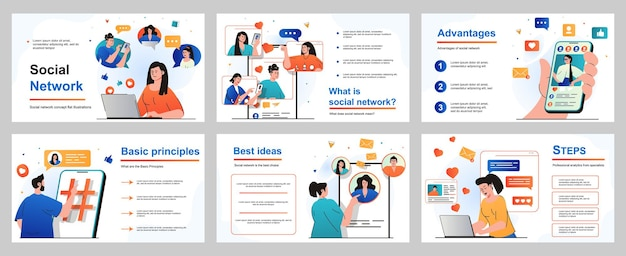 Social network concept for presentation slide template people browse feeds follow friends profiles