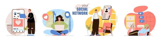 소셜 네트워크 개념 장면 세트 남성과 여성은 온라인 프로필 채팅 게시물 사진 수집 좋아하는 피드백 사람들 활동 수집