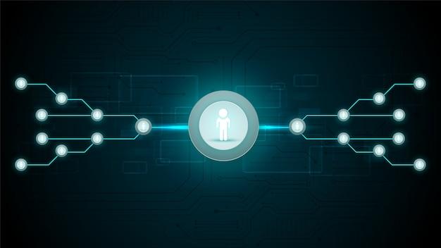 ソーシャルネットワーク接続技術回路システムと人のシンボル