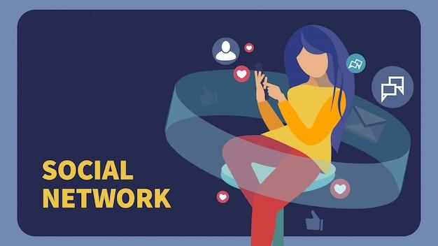 Social network flat banner template