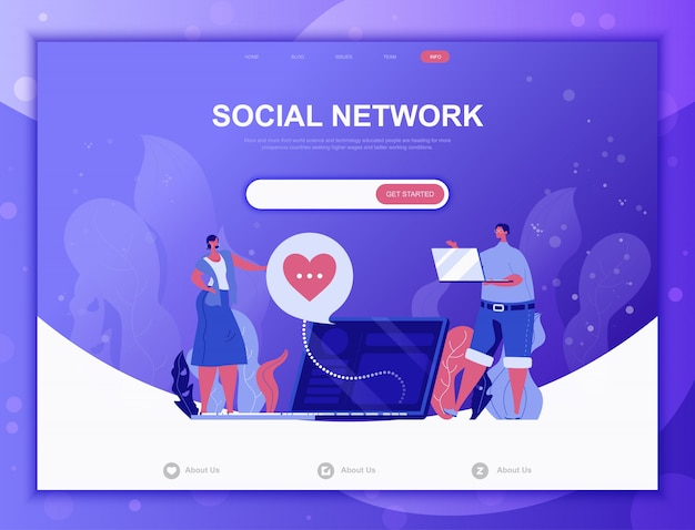 Social network flat concept, landing page web template