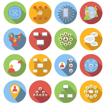 Social network flat icons set isolated