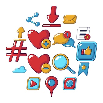 Social network icon set, cartoon style
