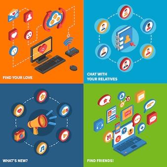 Социальные сети иконки изометрические набор