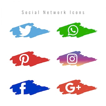 Social network icons set with paint brushes