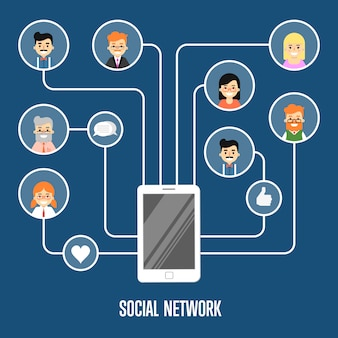 Social network illustration with connected people