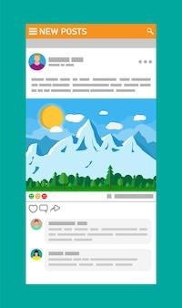 ソーシャルネットワークインターフェース。ニュース投稿はモバイルデバイスのページをフレームします。ユーザーが写真にコメントします。ソーシャルリソースアプリケーションのモックアップ。