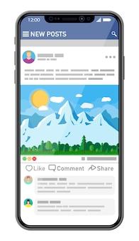 スマートフォン画面上のソーシャルネットワークインターフェーステンプレート。ニュース投稿はモバイルデバイスのページをフレームします。ユーザーが写真にコメントします。ソーシャルリソースアプリケーションのモックアップ。フラットスタイルのベクトル図