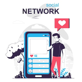 Social network isolated cartoon concept man uses social media chats in mobile application