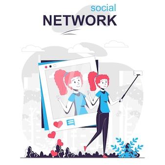 ソーシャルネットワークの孤立した漫画の概念女性は自分撮りを取り、個人のブログに投稿します