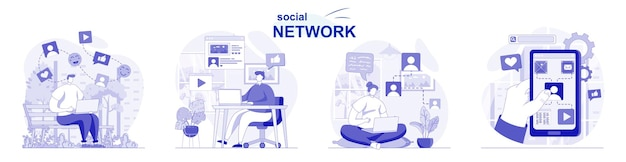 Social network isolated set in flat design people chatting with friends browsing post photos