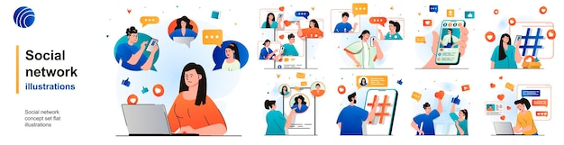 Social network isolated set users browsing post photos comment chatting of scenes in flat design