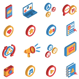 Social network isometric icon set
