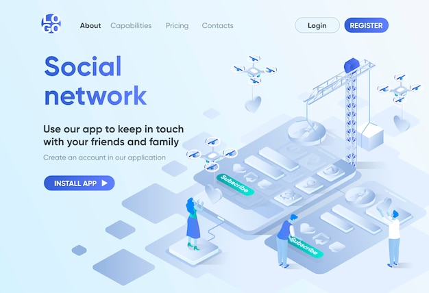 Premium Vector Social Network Isometric Landing Page Mobile Communication Service Online Chatting And Media Content Sharing Messaging Template For Cms And Website Builder Isometry Scene With People Characters