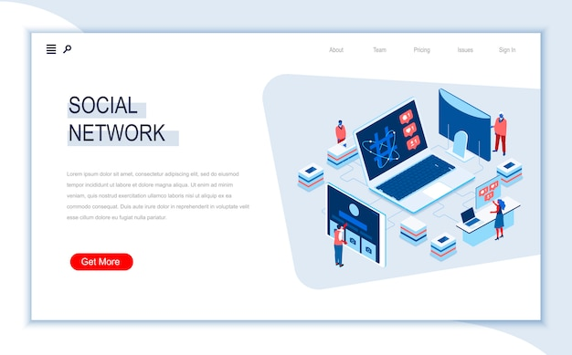 Social network isometric landing page template.