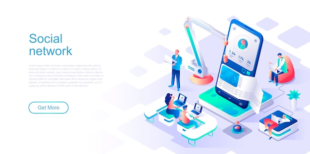 Social network isometric landing page vector template.