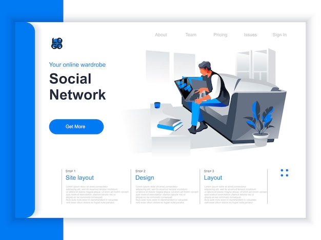 Social network isometric landing page. woman working with laptop on sofa at home situation. internet communication, social media content sharing and online messaging perspective flat design.
