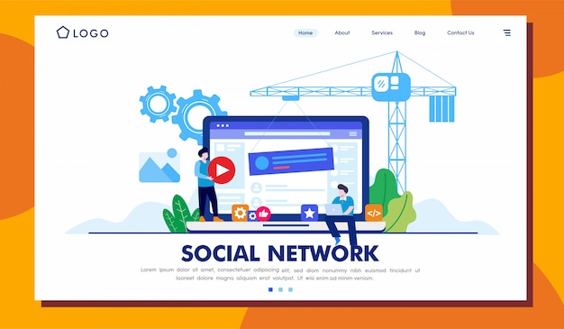 Social network landing page illustration template