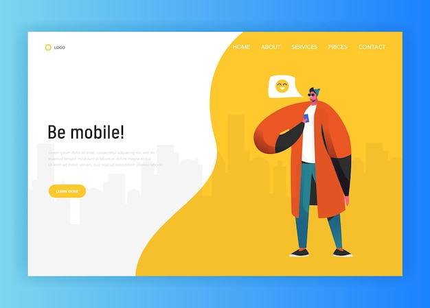Social network landing page template. man character chatting using smartphone for website or web page. virtual communication concept. vector illustration