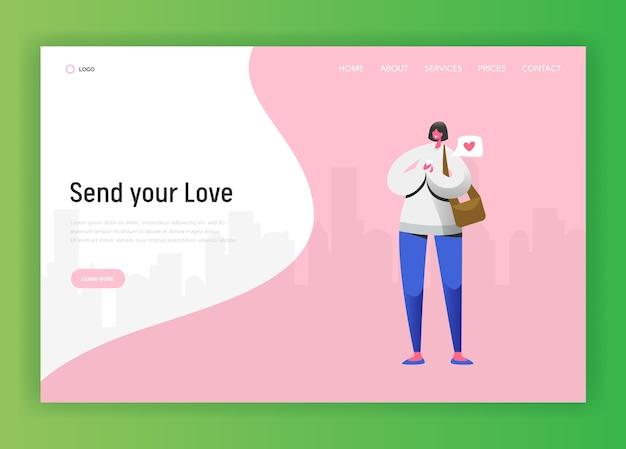 ソーシャルネットワークのランディングページテンプレート。ウェブサイトまたはウェブページにスマートフォンを使用してチャットする女性キャラクター。仮想通信の概念。ベクトルイラスト