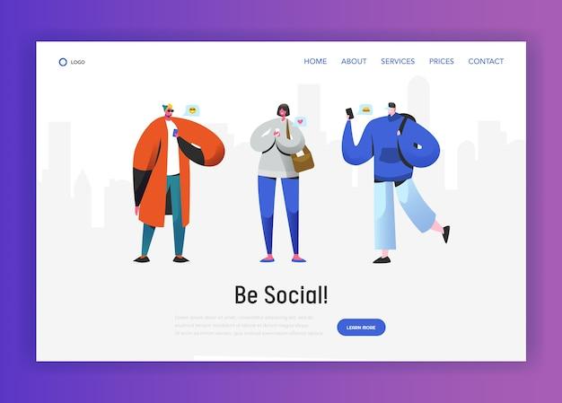 Шаблон целевой страницы социальной сети. персонажи молодых людей разговаривают с помощью смартфона для веб-сайта или веб-страницы. концепция виртуального общения. векторная иллюстрация
